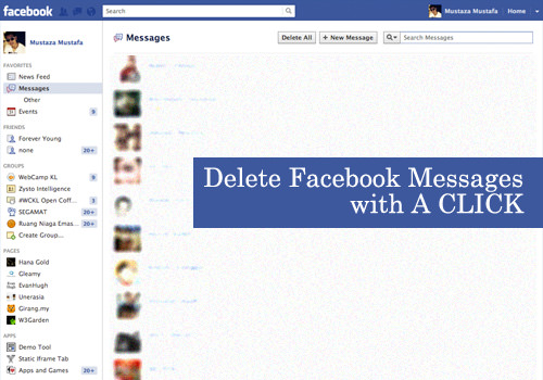 خاصية تسمح لك أن تحذف كل الرسائل دفعة واحدة من الفيسبوك